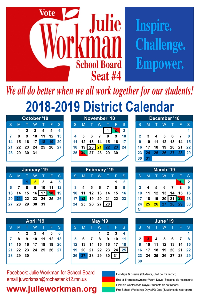 Rochester School District Calendar Vote for Julie Workman seat 4