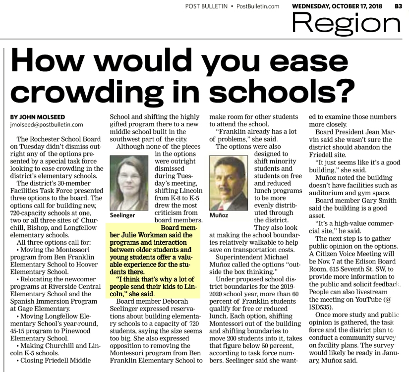 How would you ease crowding in schools Julie Workman Rochester Public School Board election