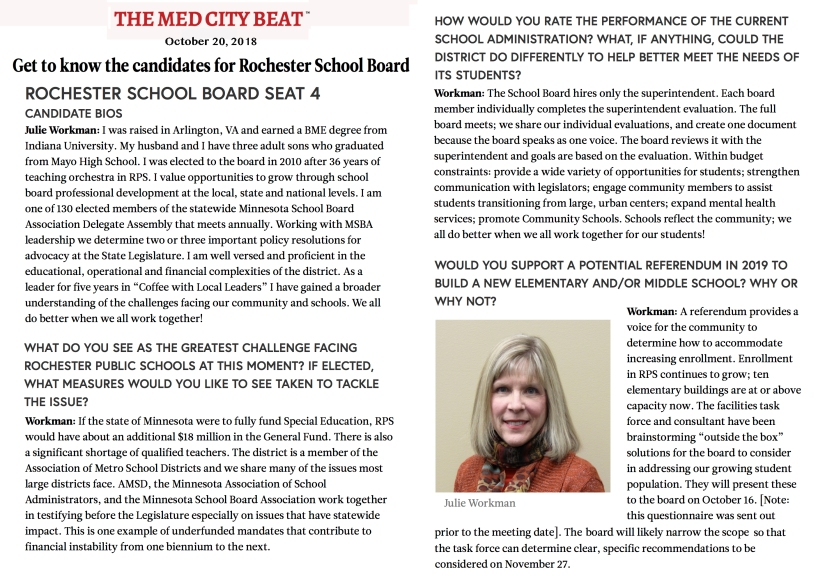 Med City Beat interview with Julie Workman election 2018 Rochester School Board