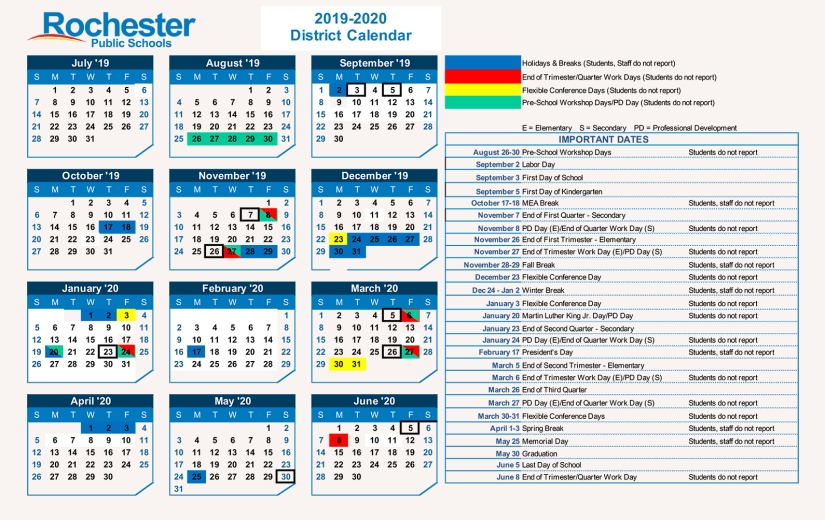2019-2020 Rochester School District Calendar